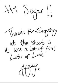 harry's handwriting ahhh! my t's look like that too:) we were mean for each other!