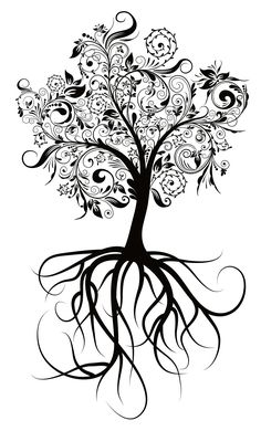 tree tattoo pattern. Fill the shapes of people's emblems in the leaves