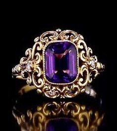 Antique Russian Renaissance-style gold ring with Siberian Amethyst by a prominen. Antique Russian Renaissance-style gold ring with Siberian Amethyst by a prominent St. Petersburg jeweler Yakov Rosen, made between 1904 and 1908 Amethyst Jewelry, Gold Jewelry, Jewelry Box, Jewlery, Jewelry Armoire, Amethyst Birthstone, Jade Earrings, Sapphire Bracelet, Purple Jewelry
