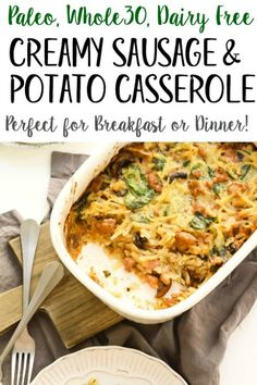 This creamy casserole is the perfect easy and family friendly dinner. It's with sausage and hash browns in under an hour and is a creamy, comforting Paleo or recipe. It would be great for meal prep, and I think the leftovers are almost more delicious! Paleo Whole 30, Whole 30 Recipes, Clean Eating, Healthy Eating, Paleo Breakfast, Breakfast Recipes, Whole 30 Breakfast Casserole, Paleo Recipes, Real Food Recipes