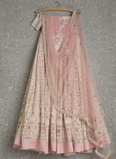Lehengas by SwatiManish : Pale pink lehenga and dupatta with white thread work