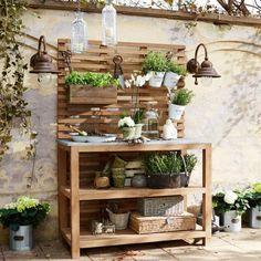 Pflanztisch Benson | Dekoration > Dekopflanzen > Blumenständer | Braun | Teakholz - platte: granit | LOBERON