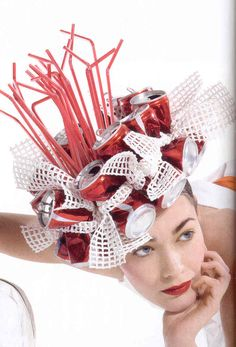 Probably the silliest example ever … Recycled Hat – Project Runway Contestant…. Probably the silliest example ever …. Crazy Hat Day, Crazy Hats, Project Runway, Recycled Costumes, Recycled Dress, Mode Alternative, Funny Hats, Weird Fashion, Fashion Hats