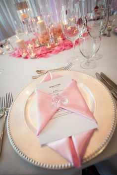Pink...I love this napkin fold!!