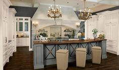 interior design ideas kitchen french country house light blue chandelier wooden counter