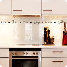 Slice - Dice - Peel - Chop - Mash - Mince; cute wall decal