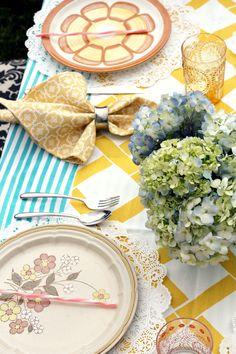 yellow and blue table setup