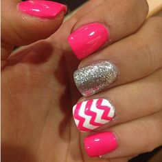 Nails... i love these colors they put together.. my favorite part it the pink chevron with the white.   Beautiful!!!!!!!!!!!!!!$$