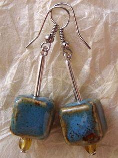Handmade Raku ceramic cube earrings