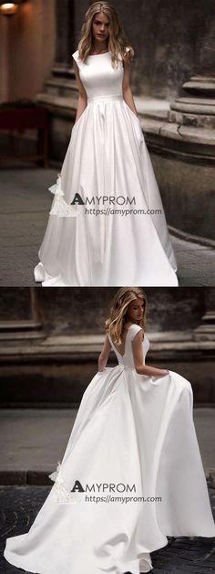 8deef1efd Chic A-line Bateau Ivory Prom Dresses Cheap Simple Long Prom Dress Evening  Dress AMY2498