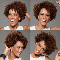 Buy Fashion Ombre Afro Wig Short Wigs for Women Color:Ombre Brown at Wish - Shopping Made Fun Pelo Natural, Natural Curls, Natural Hair Care, Natural Hair Styles, Short Wigs, Short Curly Hair, Curly Hair Styles, Short Afro, Afro Wigs
