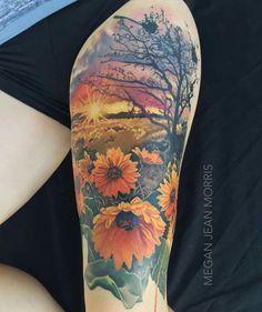 Sunflowers full color thigh tattoo by me Megan Jean Morris. Wallingford CT Sunflowers full color thigh tattoo by me Megan Jean Morris. Sunset Tattoos, Mom Tattoos, Cute Tattoos, Body Art Tattoos, Tatoos, Ocean Life Tattoos, Texas Tattoos, Wrist Tattoos, Pretty Tattoos