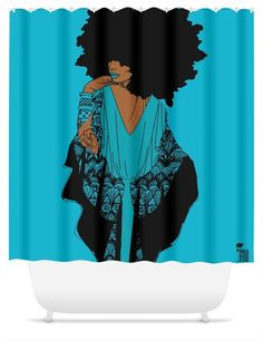 turquoise and black shower curtain. One Size Fits All Our shower curtains are wide by tall  Chanel curtain Pardon My Fro shop Bathroom Powder Room