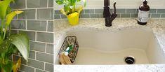 New Kitchen Remodel House - Water Glass Backsplash Tile Shop & Elkay ELGUS3322RBQ0 Harmony E-Granite Undermount Sink