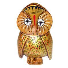 WOODEN OWL NICE PAINT ON THE FIGURE HOME DÉCOR 11X5 CMS