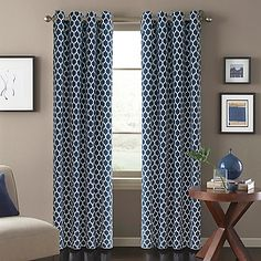 Featuring a beautiful, printed design, the Morocco Window Curtain Panel adds a stylish touch to any room and matches with a variety of decors. The panel hangs on attractive, nickel-finished grommets. Panels are sold individually and measure 52 wide each.