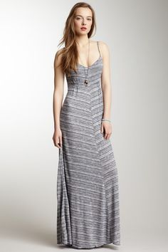 Knit Printed Maxi Dress - cute neckline, and it is ruched a bit under the chest, so it's more flattering
