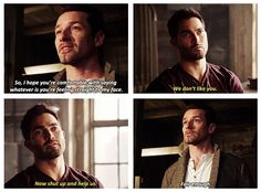 Teen Wolf, Derek and sassy uncle Peter this has got to be one of the greatest scenes ever.