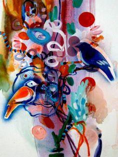 """Saatchi Art Artist Randi Antonsen; Painting, """"the ok birds"""" #art"""
