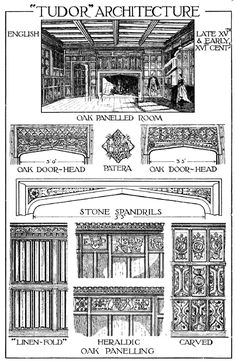 Tudor Architecture Diagram - one of the innovations of the Tudor period is the internal chimney stack and enclosed fireplace which dispensed with the open hall that relied on a huge hearth - and enabled second storeys with fireplaces for heating.