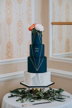 Blue and gold wedding cake, marble wedding cake, hexagonal wedding cake, sugar flowers wedding cake, peony wedding cake, succulent wedding cake, geometric wedding cake, calligraphy wedding cake, dark wedding cake, navy wedding cake, calligraphy wedding cake, modern wedding cake, luxury wedding cake, minimalist wedding cake wedding cake Manchester, wedding cake Cheshire, wedding cake Manchester Hall  Image by Alfred & Co Photography Navy Blue Wedding Cakes, Fall Wedding Cakes, Wedding Topper, Wedding Cakes With Flowers, Wedding Cake Designs, Wedding Navy, Flower Cakes, Wedding Vows, Wedding Rings