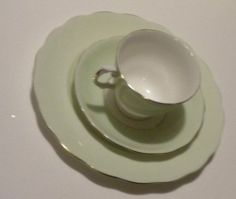 Colclough Green White 3pc China Tea Cup Saucer Luncheon Plate Made in England | eBay