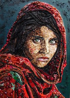 Jane Perkins -Art made from buttons, beads and other reused items
