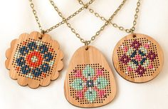 Bamboo Folk Art Pendant Kits #bamboo #beginner #circle #cross-stitch #cross-stitch-kit #egg #folk-art #modern #necklace #pendant #red-gate-stitchery #scallop