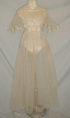 Early-1830s-Antique-Net-Lace-Dress-w-Satin-Trim, via eBay ends 8/21/14 current Bid $405.00