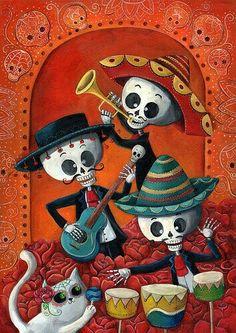 El Dia de Los Muertos Calaveras Mariachi Band / Skeleton Musicians - by Monika Suska. Day of the Dead Bd Art, Sugar Skull Art, Sugar Skulls, Day Of The Dead Art, Creation Photo, Mexican Folk Art, Book Of Life, Musicals, Decoration