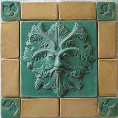 Custom Made Craftsman style Greenman Tile with Border