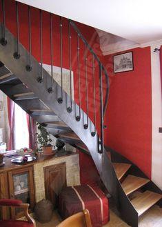 photo dt33 esca droit 174 1 4 tournant escalier d int 233 rieur balanc 233 m 233 tal et bois style bistrot