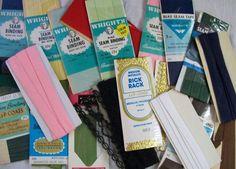Vintage Sewing Trims - Seam Binding, Bias Tape, Mixed Lot,  Vintage Lot #Wrights