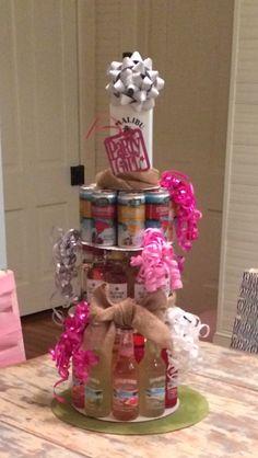 I wanna make one theses for my birthday hehe 21st Birthday Cakes, Birthday Fun, Birthday Parties, Birthday Ideas, Birthday Basket, Birthday Stuff, 21st Bday Ideas, Alcohol Cake, Bottle Cake