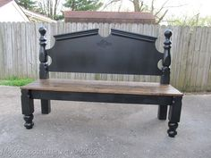 {Repurposed} headboard into bench