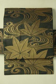 Black nagoya obi / 黒地 金の流水紅葉柄 全通絽化繊名古屋帯 #Kimono #Japan http://global.rakuten.com/en/store/aiyama/