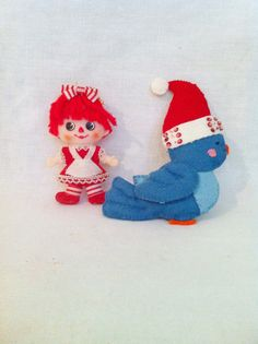 Vintage Felt Sequin Blue Bird and Raggedy Ann by Comforte on Etsy, $9.00 on etsy
