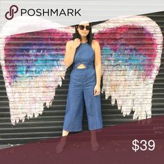 Do + Be chambray cutout culottes jumpsuit Adorable culottes jumpsuit with cutout detailing.  Super fun and on trend. Good condition. Do + Be Pants Jumpsuits & Rompers