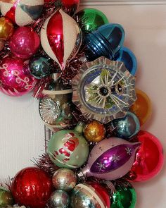 vintage ornament wreath. - I love using old things in a new way.