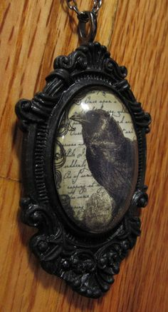 Goth Victorian Raven Crow Framed Glass Cameo Necklace Pendant Steampunk Vintage | eBay