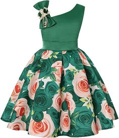 Sun Dresses for Girls Size 5 Sparkly Xmas Santa Easter Pageant Party Dress 5 Years Old Green O Neck Sundress for Girls Wedding Holiday Summer Dressy Pretty Dress Floral Prom Dress (DGreen African Dresses For Kids, Latest African Fashion Dresses, African Dresses For Women, Dress Fashion, Fashion Outfits, Kids Dress Wear, Kids Gown, Girls Formal Dresses, Dresses Kids Girl