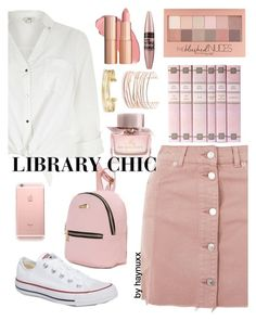 """""""LIBRARY CHIC"""" by haynuxx ❤ liked on Polyvore featuring Topshop, River Island, Converse, Stella & Dot, Maybelline, Burberry and Alexis Bittar"""