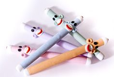 Sock Monkey Pen set in 5 Rainbow Colors Handmade in Polymer Clay by MagicByLeah $75