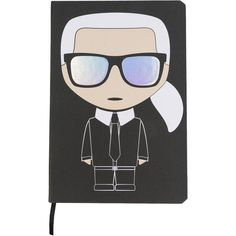 Karl Lagerfeld Karl notebook ($36) ❤ liked on Polyvore featuring home, home decor, stationery and black