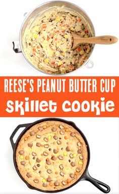 Skillet Cookie Recipe - Easy Cast Iron Chocolate Peanut Butter Cookie!  With perfect crispy edges and a chewy, soft center... you've just found cookie perfection!! This dreamy dessert is the PERFECT addition to your weekend... trust me, you need this in your life!  Go grab the recipe and give it a try!