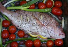 loving food + travel my way Grilled Fish, Baked Fish, Juice Of One Lemon, Just Bake, Baking Tins, Good Fats, 2 Ingredients, Cherry Tomatoes
