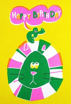 美容室のバースデーカード - アルニコデザイン Birthday Cards, Happy Birthday, Large Animals, Color Swatches, Painting & Drawing, Design Art, Cool Art, Illustration Art, Hand Painted