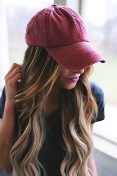 Faded Baseball Cap- Burgundy - Dottie Couture Boutique