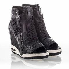 Ash Electric Womens Wedge Sneaker Black Leather & Mesh 340394 (002) #poachit