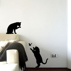 Le Chat Noir  Black Cats Wall Decal by vinylwalldesign on Etsy, $40.00